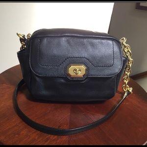 Authentic black leather coach camera bag